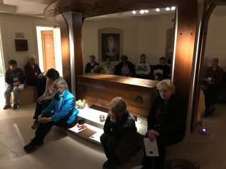 Providence Associates and sisters gathered for the Saturday evening vigil at the Shrine of Saint Mother Theodore Guerin during the retreat.